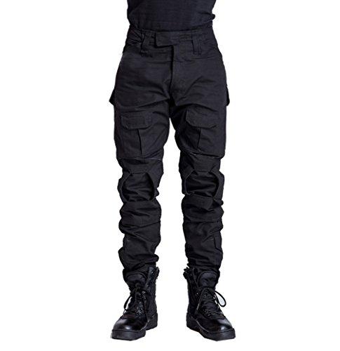 YuanDiann Homme Tactique Pantalon De Camouflage Militaire Multi-Poches Respirant Imperméable Armée Battle Trekking Chasse Randonnée Camping Treillis Cargo Travail Pantalon Noir 34
