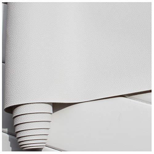 GLFYHG DIY Tissu Simili Cuir PU 1 Mm D'épaisseur, Cuir de Canapé À Motif Micro-Litchi, Siège en Cuir de Voiture, Cuir Microfibre de 140 Cm de Large - Blanc