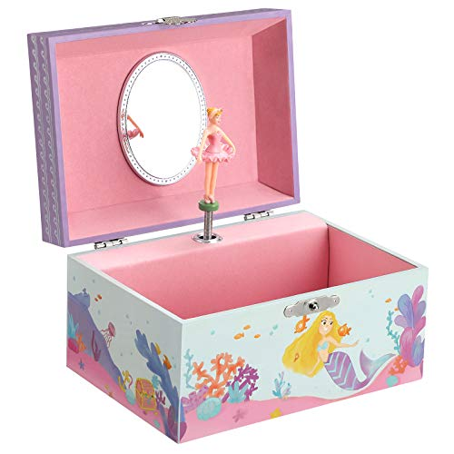 SONGMICS JMC018BU Boîte à bijoux pour enfant avec miroir et mélodie des vagues Bleu