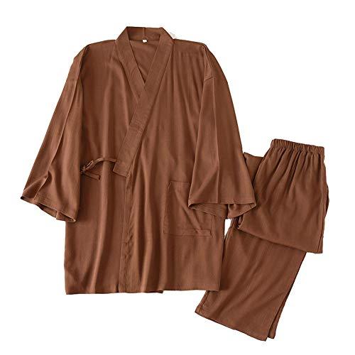 Costume de Pyjama en Lin et Coton Kimono Japonais pour Homme, Grande Taille, vêtements Zen, vêtements taoïstes (Taille XL, N4)