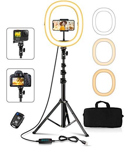 Cocoda Ring Light avec Trépied, 12'' Pliable LED Anneau Lumineux avec 3 Modes d'éclairage et 10 Niveaux de Luminosité pour la Diffusion en Direct/TikTok/Maquillage/Vidéo Youtube