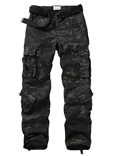 KOCTHOMY Pantalon Cargo léger Multi-Poches résistant à la déchirure pour Hommes Pantalon de Travail Militaire Tactique en Plein air Camo foncé étiqueter 34/FR 44