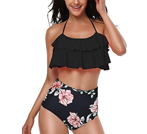 CheChury Femme Maillot de Bain 2 Pièces Halter Push Up Vintage Taille Haute Volants Ensemble de Bikini Mignon Plus La Taille - Noir - L