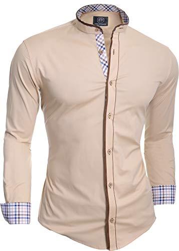 D&R Fashion Chemise Homme Col Mao Finition Carreaux Patchs Coude en Daim Slim Fit Coton