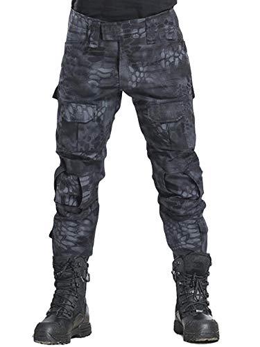 KOCTHOMY Pantalon de Travail Cargo Tactique Militaire pour Hommes, Pantalon de Chasse de randonnée avec Poches Noir MW étiqueter 40/FR 50
