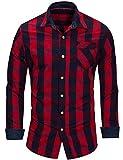 Chemise Homme à Carreaux Coton Manches Longues Slim Fit Basic Causal Business Loisirs, Rouge, L