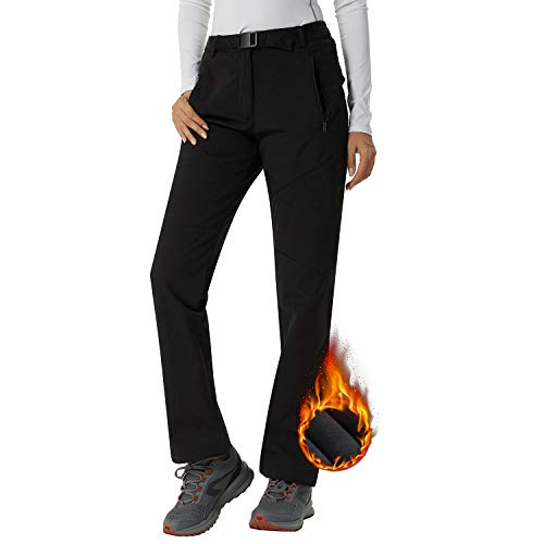 Pantalon Softshell Femme Sport Imperméable Élastique Hiver Ultra Chaud Pantalon de Randonnée...