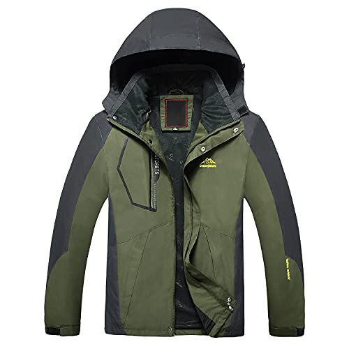 Naudamp Veste Imperméable Softshell pour Homme Veste de Randonnée en Montagne Coupe-Vent Légère Extérieure Manteau à Capuche Multi Poches
