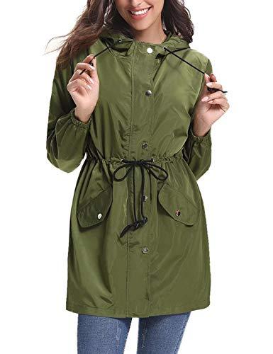 Aibrou Femme Manteau Imperméable Veste De Pluie Long, Vert, Taille L