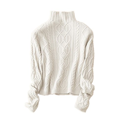 Wenwenma Cachemire Col Haut en Cachemire Pull - Femme - Mode Torsadé Tricoté Pull (Blanc,...
