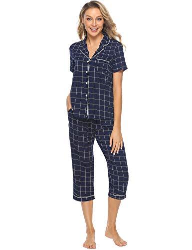 iClosam Pyjama Femme Carreaux noirs et blancs - Chemise et Pantalon - Vêtement de nuit, Bleu,...