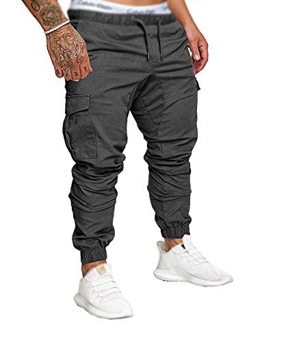 SOMTHRON Homme Ceinture élastique à Long Coton Jogging Pantalons de survêtement Plus la Taille Mode Sport Cargo Pantalons Shorts avec Poches Joggers Activewear Pantalons (DG-M)