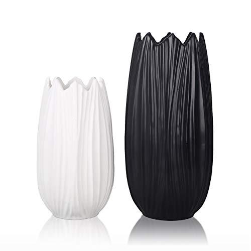 TERESA'S COLLECTIONS Vases Décoratifs en Céramique, Vases Modernes Pétaloïdes Noirs et Blancs pour la Décoration de la Maison, du Salon, de la Cheminée, de la Table, de l'Etagère, 28cm 2pcs