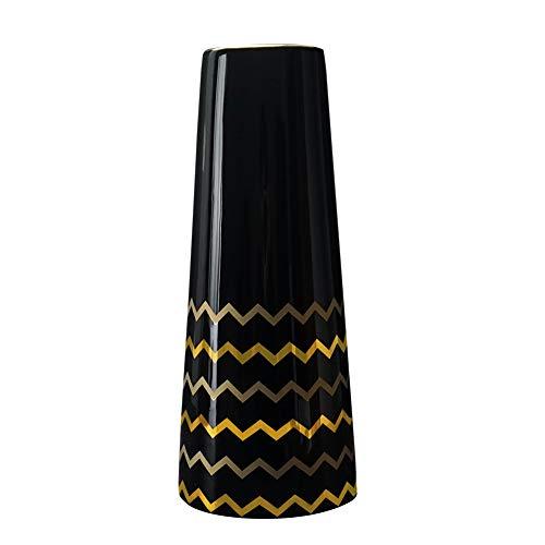 HCHLQLZ 30cm Vase de Fleur Noir Or Céramique vases decoratifs Design Haut pour Maison, fête, Centre de Table de Mariage