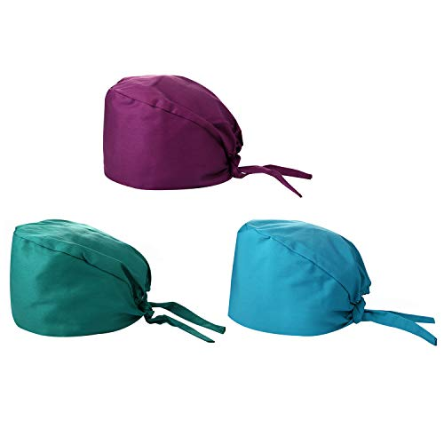 Lancardo Lot de 3 bonnets, bonnet de cuisine, turban de sueur, chimiothérapie, tête de mort, en coton, réglable, cadeau parfait