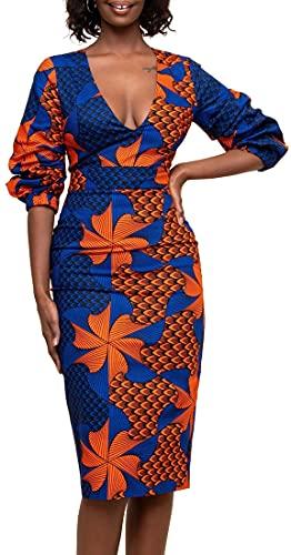 EUDOLAH Femme Robe Longue Col V Style Africain Imprimée Manches Longues Robe de Cocktail Soirée Moulante en Satin Doux (XL,Orange Bleu)