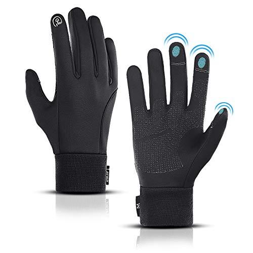 LERWAY Gants d'Hiver Chauds à Ecran Tactile Noirs pour Hommes Femmes Gants Antidérapants Coupe-Vent Gants pour Sports Course Conduite VTT Escalade Randonnée Résistants à l'Eau (Noir- M)
