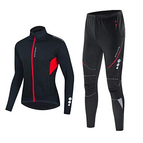 WOSAWE Hommes Thermique Polaire Cyclisme Vêtements Ensembles Hiver Veste Coupe-Vent + Pantalon de Vélo (BL255 Noir L)