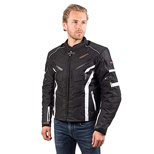 RIDER-TEC – Blouson Moto Urban Black&White – Ultra-Résistant – Protections fournies - Homologué CE - Taille-XXL