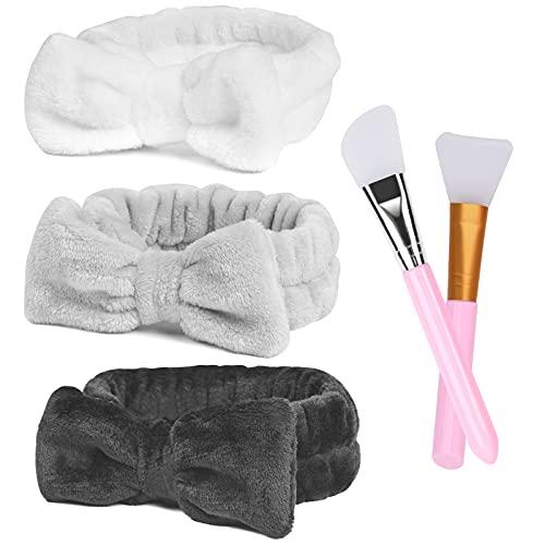 URAQT Bandeaux de Maquillage, 3PCS Bandeau de Lavage, Bandeaux en Microfibre Bowknot Bandeaux...