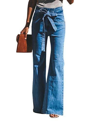 Minetom Femmes Taille Haute Denim Jean Flare Déchiré Pantalons Évasé Jambe Large Casual...