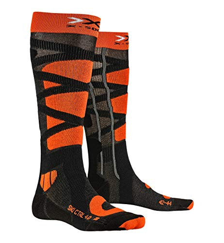 X-SOCKS Ski Control 4.0 Chaussettes Homme Anthracite/Orange FR : M (Taille Fabricant : 39-41)