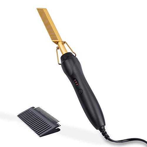 Lisseur à peigne chaud - Peigne à lisser ShunTaiwei, adapté aux cheveux et perruques afro-américains, lisseur électrique portable chauffant (or) prix et achat