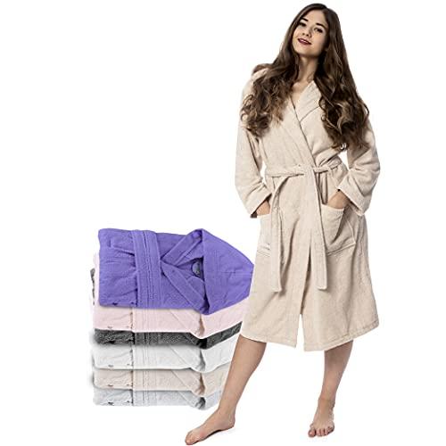 Twinzen Peignoir de Bain Femme - M - Beige - 100% Coton avec Capuche - Certifié OEKO-TEX® -...