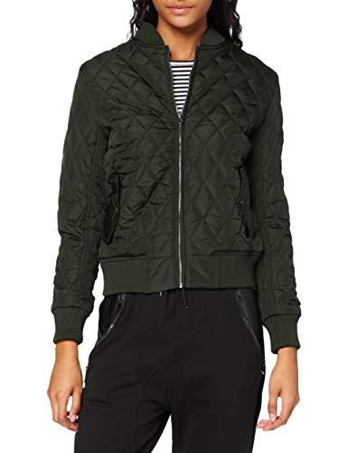 Urban Classics Ladies Diamond Quilt Nylon Jacket, Blouson Femme, Vert-Grün (Olive 176), XS
