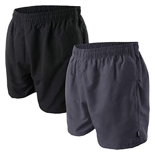 OAHOO Lot de 2 shorts de bain pour homme avec doublure en maille et poches - Noir - X-Large