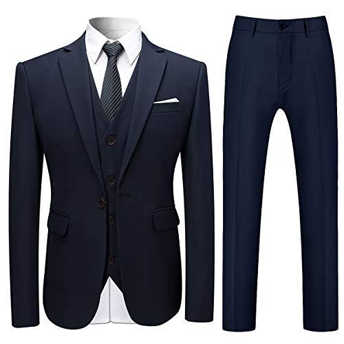 Costume Homme 3 Pcs Costard Blazer Veste et Pantalon Gilet Mariage Party Smoking, Bleu, 3XL