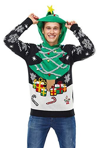 U LOOK UGLY TODAY Pull de Noël Laid, Sweat à Capuche Tricoté Drôle de Noël pour Hommes avec Un Renne Elfe et Un Arbre de Noël, Sweat-Shirt Festif Unisexe pour Noël