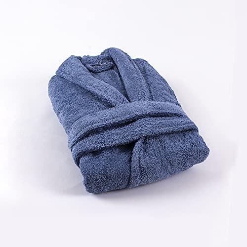 PimpamTex - Peignoir de Bain Unisexe 100% Coton pour Homme et Femme avec Collier de Smoking - (Talla L, Bleu Indigo)