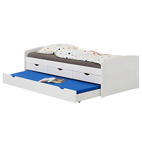 IDIMEX Lit gigogne Jessy lit Enfant Fonctionnel avec tiroir-lit et rangements 3 tiroirs, Couchage 90 x 200 cm 1 Place/1 Personne, en pin Massif lasuré Blanc