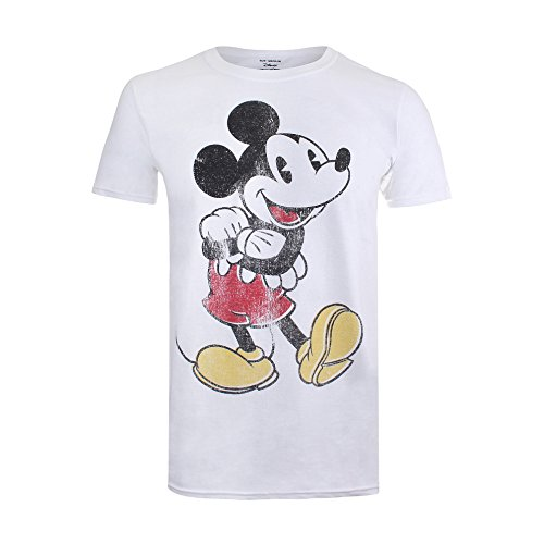 Disney Vintage Mickey T-Shirt, Blanc, XL Homme