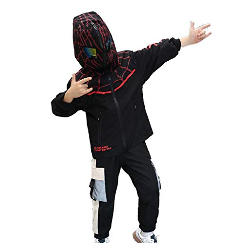 YUANY Veste Softshell Spiderman pour Enfants Veste Respirante imperméable et résistante au Vent pour Enfants Parfaite pour Voyager,Black-165cm