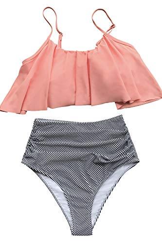 CUPSHE Femme Bikini Bandeau à Volants Plissés Taille Haute Rayé Maillots de Bain 2 Pièces...