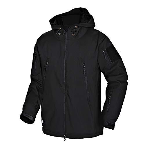 Wisdom Wolf Hommes Vestes Militaire Tactique Imperméables Softshell Toison Manteau d'hiver Outdoor Hoodie Noir Taille L