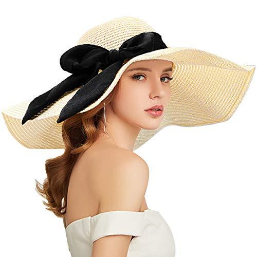 Tencoz Chapeau de Soleil pour Femme, Chapeau de Paille Souple à Bord Large Pliable avec Un...