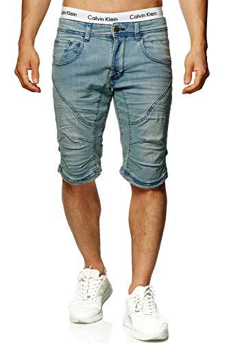 Indicode Leon Short avec 5 poches en 98 % coton | Short coupe droite Bermuda stretch pour homme aspect denim Pantacourt pour homme - Bleu - XXL