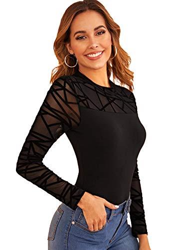 DIDK Femme Body Manches Longues Bodysuit Haut en Tulle Top Sexy Slim Combinaison Col Rond sous-vêtements Lingerie Noir 4-S