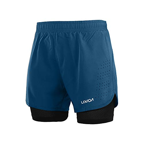 Lixada Shorts de Course 2 en 1 pour Hommes, Shorts d'Athlétisme, Shorts de Fitness Marathon, Pantalon Respirant + Séchage Rapide,L,Bleu Foncé