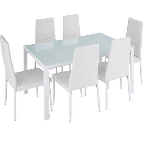 TecTake Table de Salle à Manger avec 6 chaises - diverses Couleurs (Blanc | No. 402840)