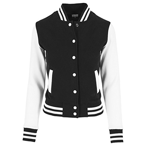 Urban Classics Ladies 2-Tone College Sweatjacket Sweat-Shirt, Multicolore (Blk/WHT), (Taille Fabricant: Small) Femme prix et achat