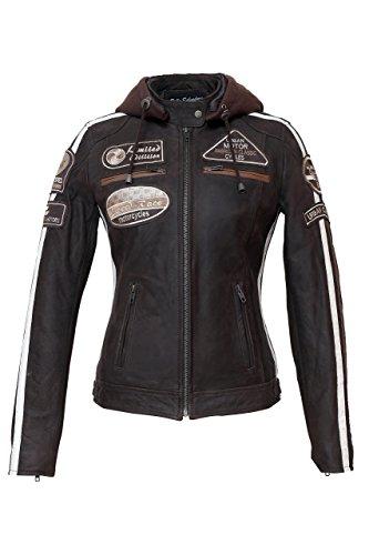Urban Leather 58 Veste de Moto avec Protections - Femme - Marron - M/40