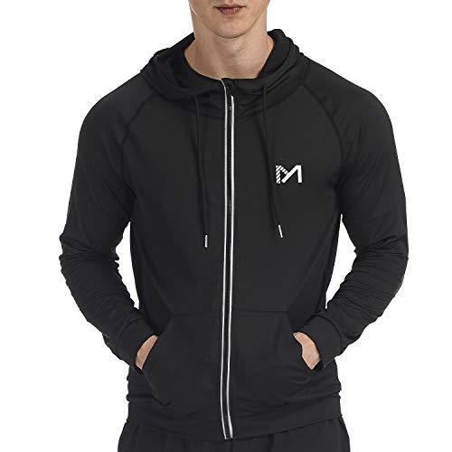 MEETYOO Veste Sport Hommes, Vestes Running Top Manche Longue Jacket pour Gym Jogging (Noir, XL)
