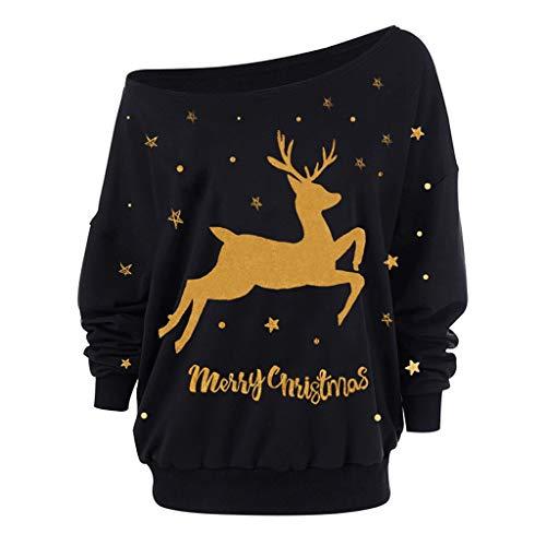 MORCHAN ❤ Cadeaux de noël Femmes de Noël à Manches Longues Bretelles Sweat imprimé Pull...