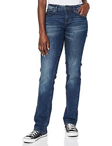 TOM TAILOR Straight Alexa, jean droit Straight Leg Femme, Bleu (Mid Stone Wash Denim 10281),...