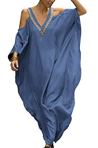 L-Peach Femmes bohème Caftan Dos Nu Chemise de Nuit sans épaules vêtements de détente Robe...