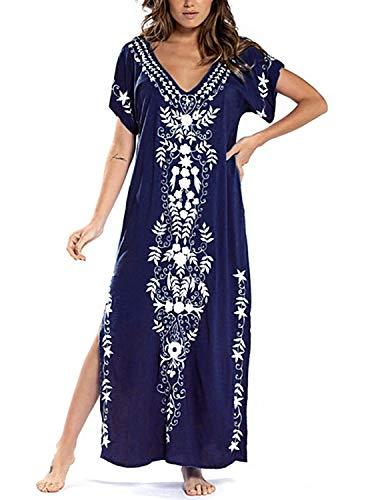 JENJON Robe de Plage Longue Femme Imprimé Floral Paréo Loose Chemisiers Blouses pour Maillot de Bain Bikini Cover Up Beachwear Bleu-1 Taille Unique